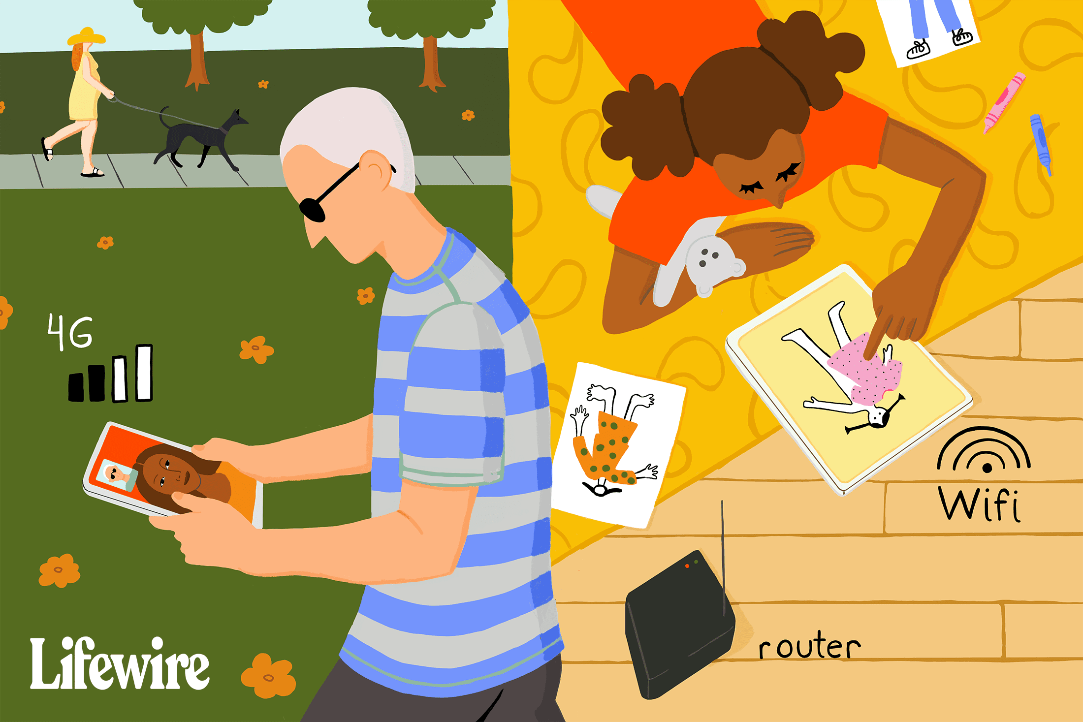 Illustration showing a person on the go with a 4G iPad and another person at home with an iPad and a Wi-Fi router