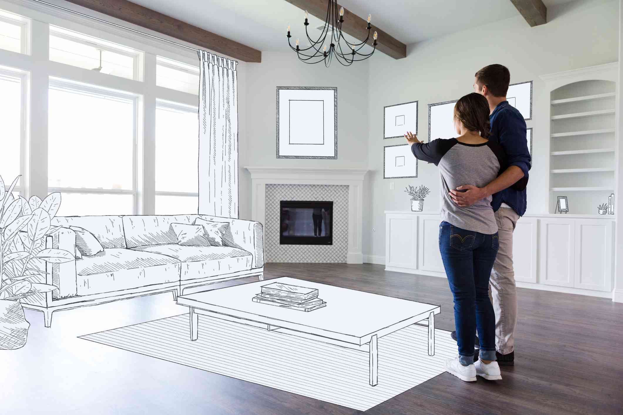 A couple standing in an empty room with home interior decorations sketched in.