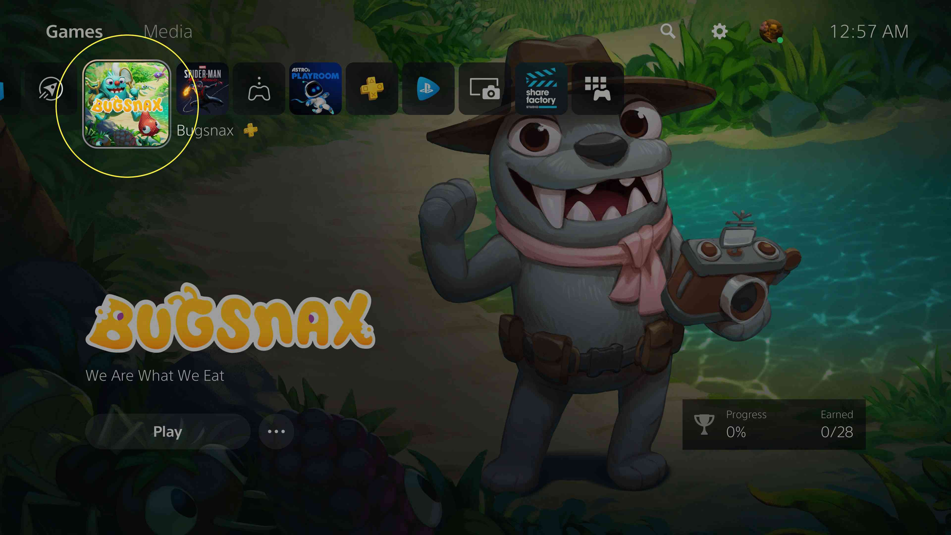 A game on the PS5 home screen