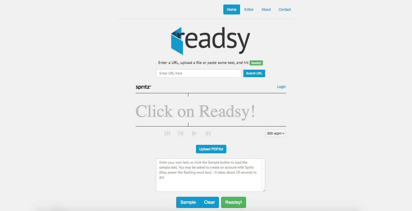 Readsy browser-based speed reading tool