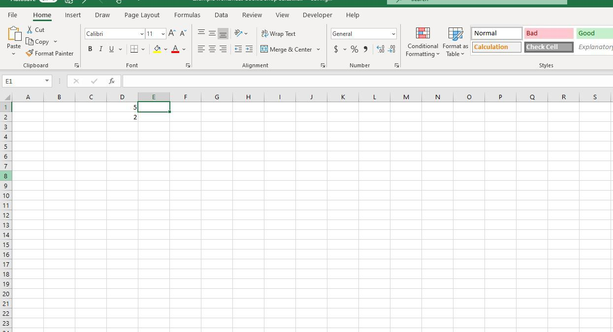 E1 selected in Excel