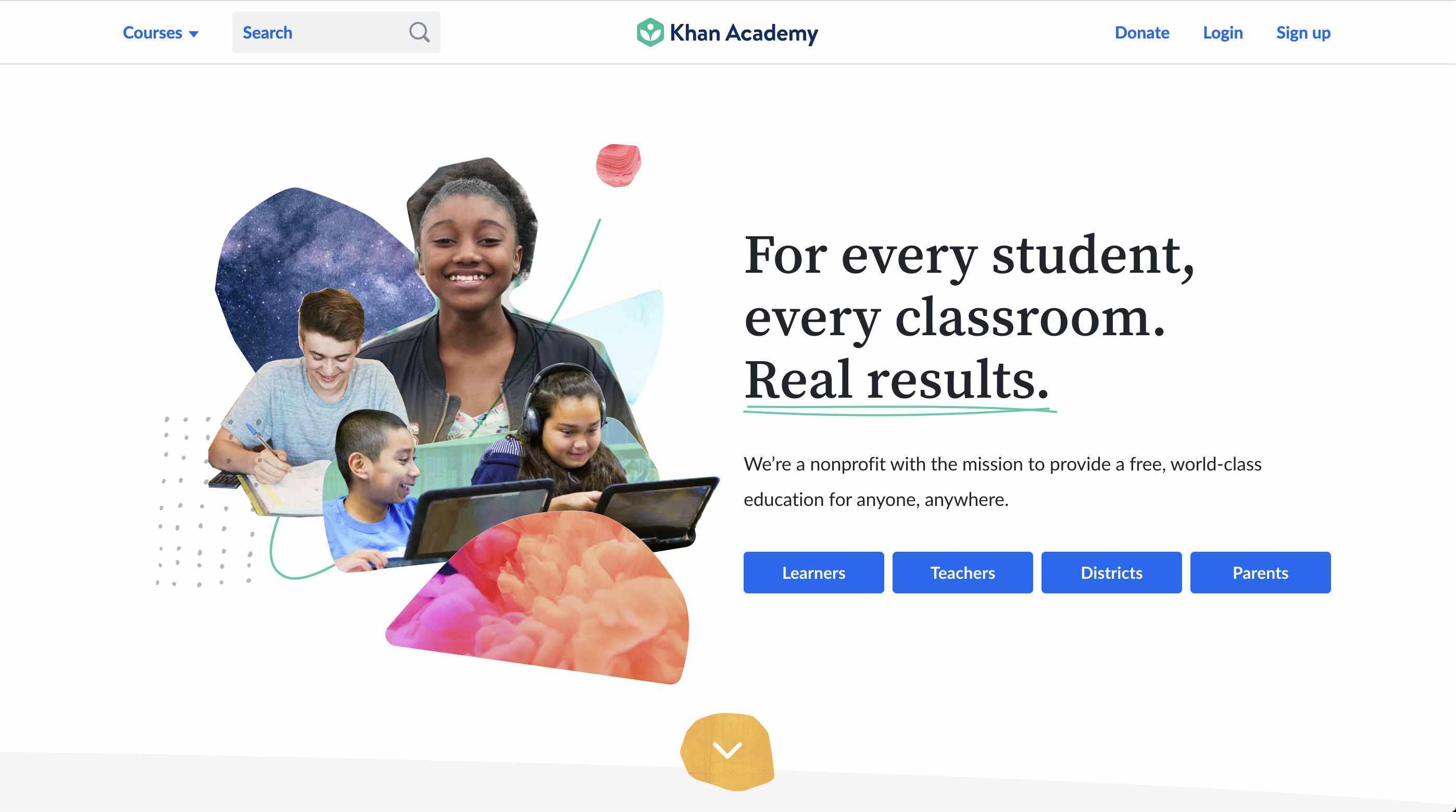 Khan Academy homepage