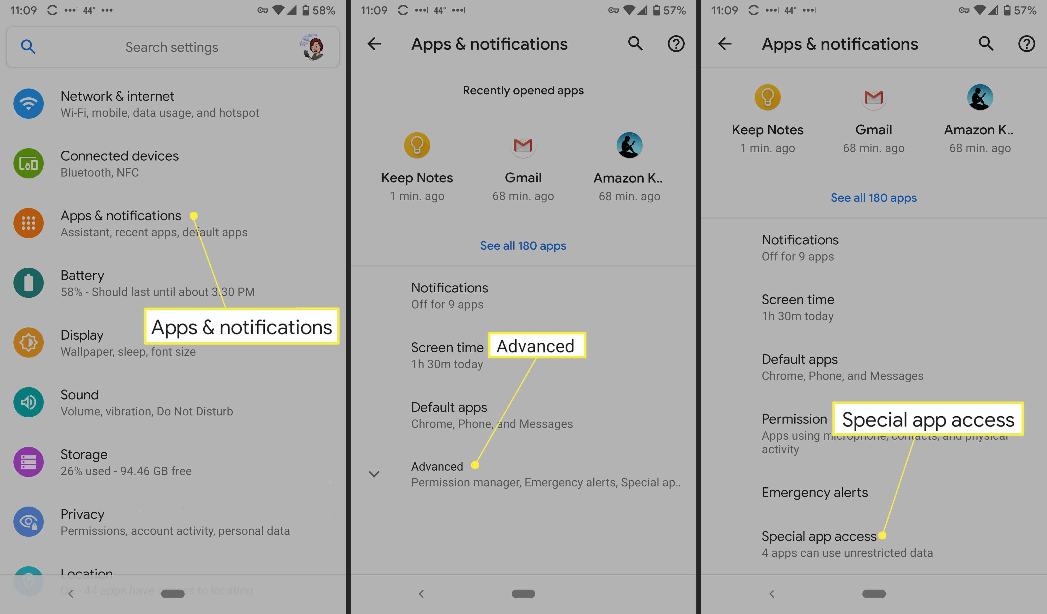 Apps & Notifications, Advanced, and Special App Access in Android settings