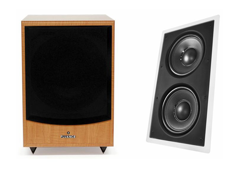 Fluance DB150 Powered Subwoofer (left) - OSD Audio IWS-88 In-Wall Passive Subwoofer (right)