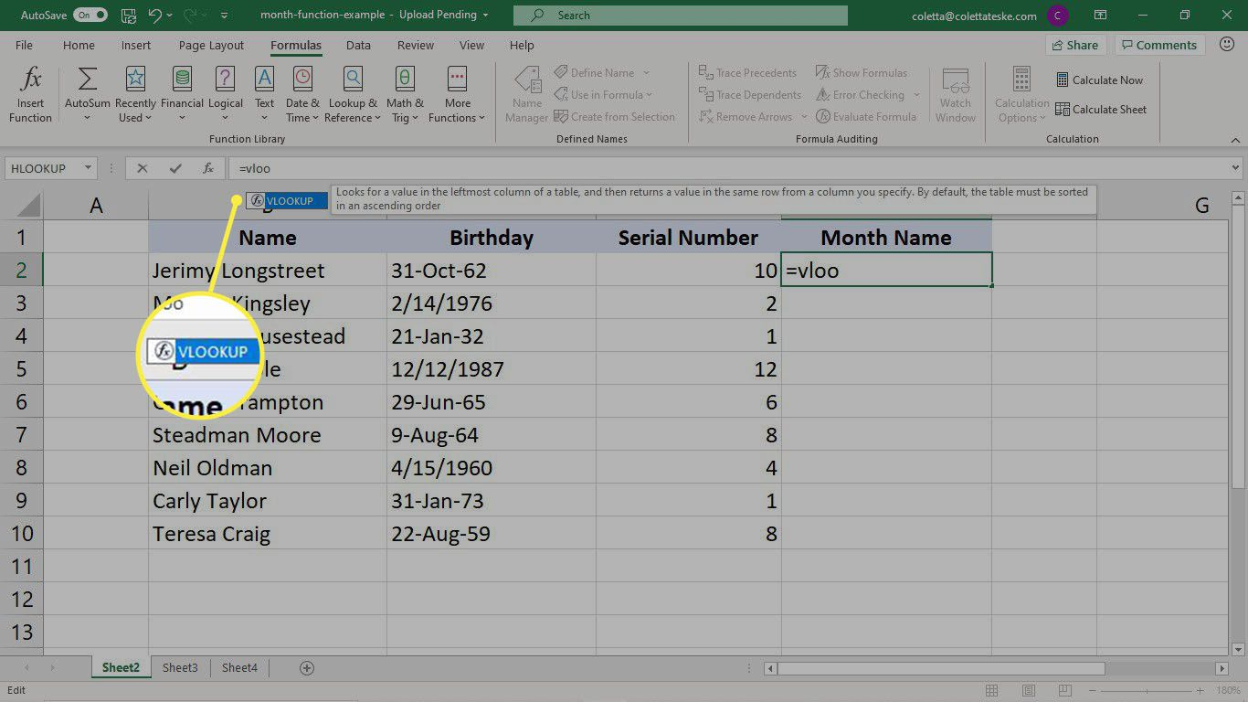 Entering the VLOOKUP function in Excel to convert serial numbers to month names