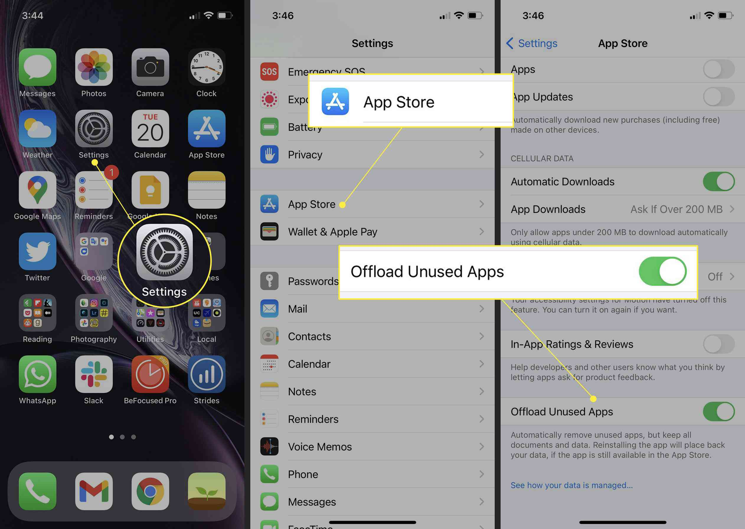 iPhone with Settings, App Store, and