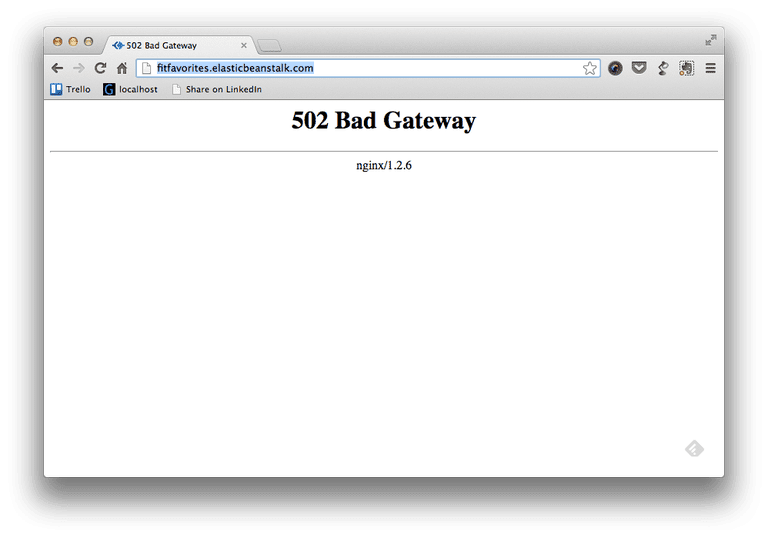 Screenshot of a 502 Bad Gateway Error in a web browser