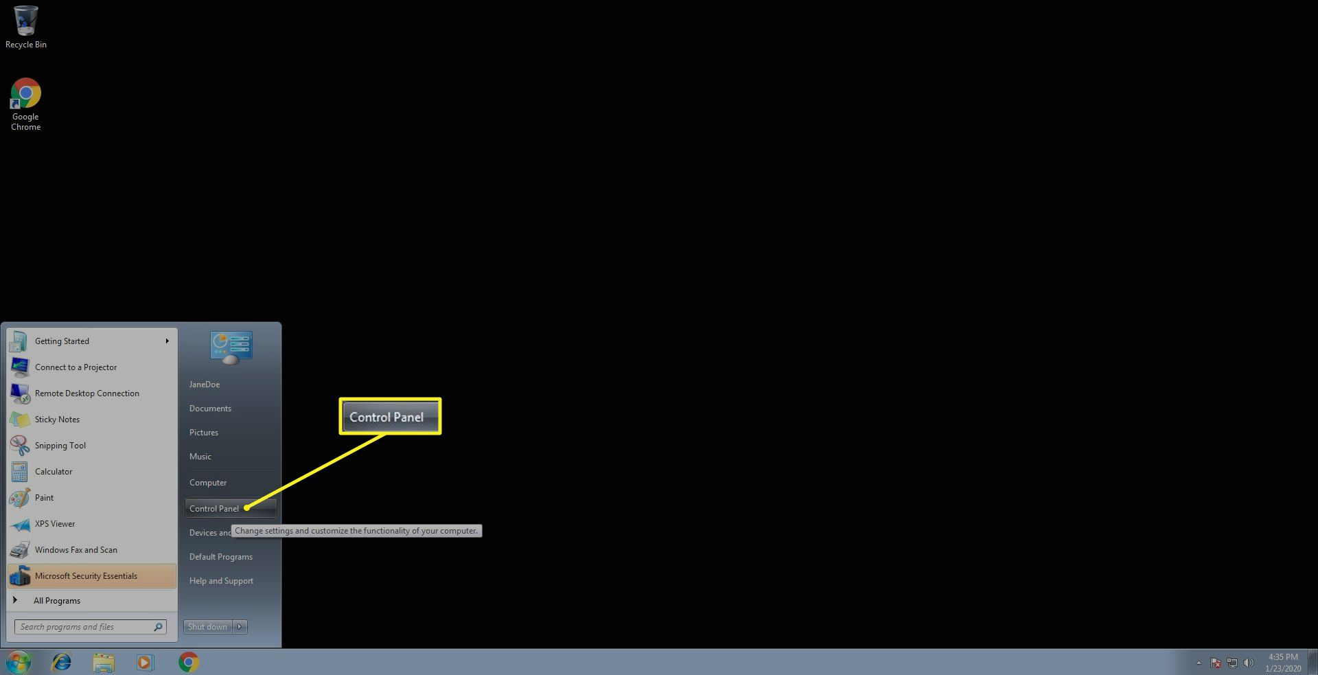 The Control Panel location in Windows 7