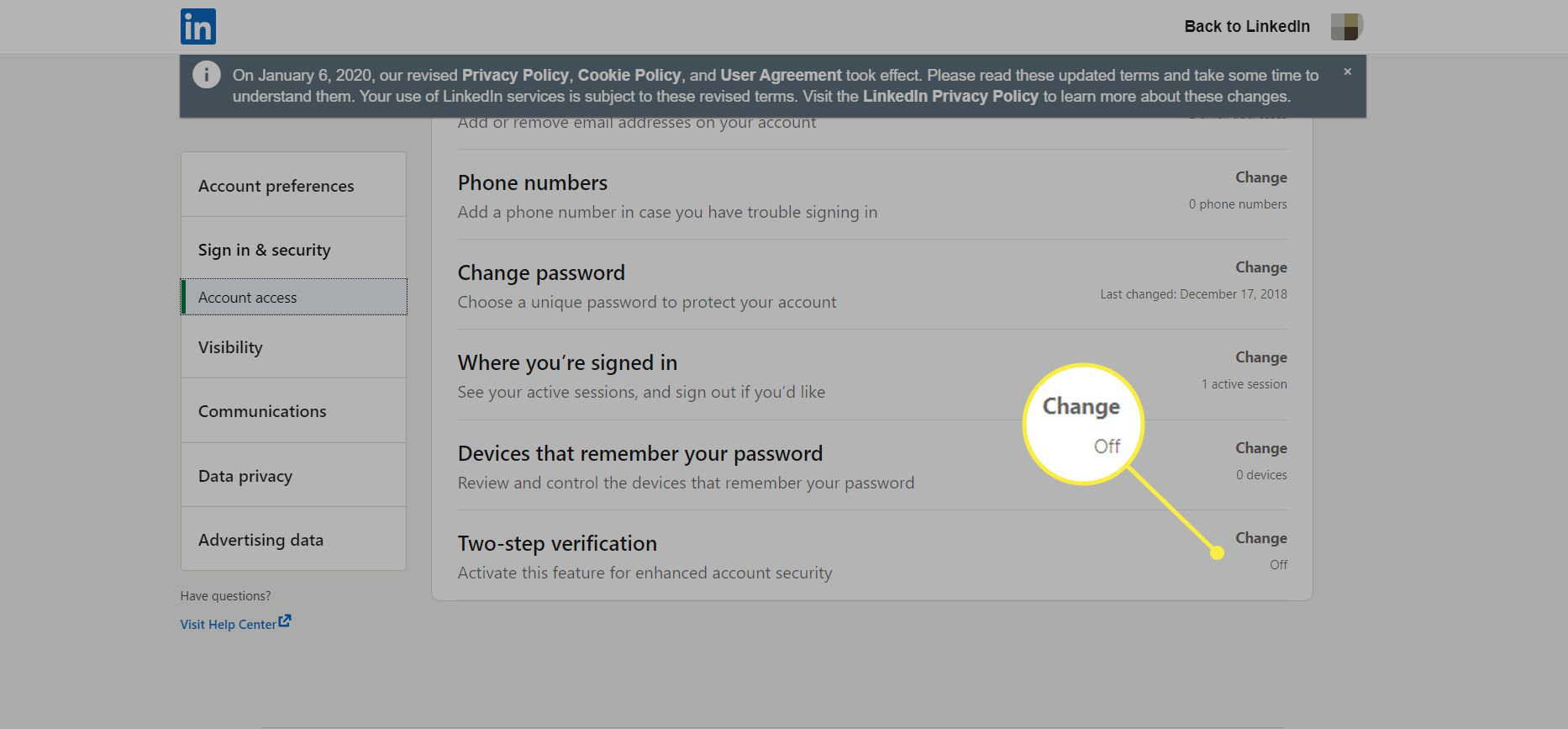 Linkedin Security settings page with Two-step verification highlighted