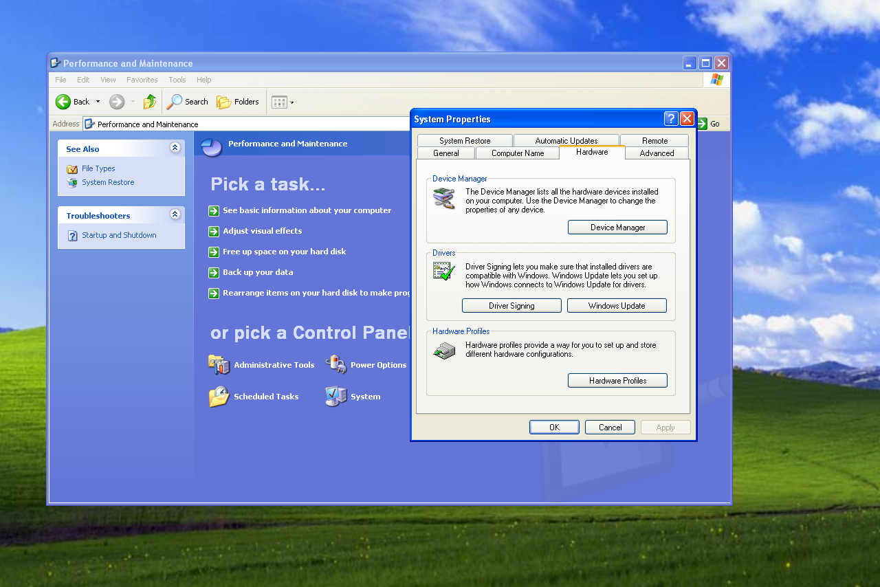 System Properties in Windows XP