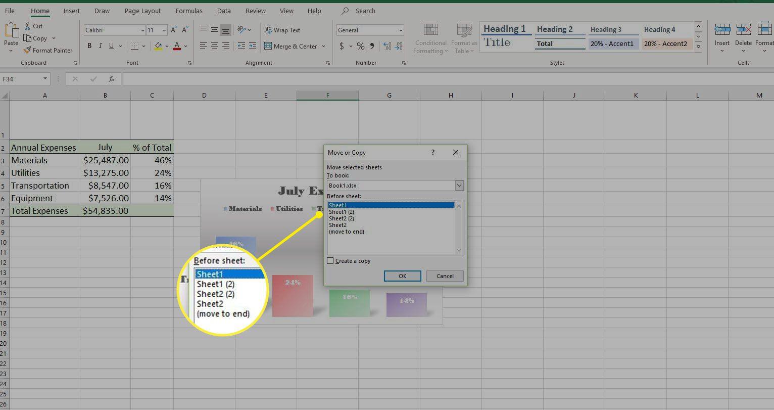Screenshot of the Move or Copy dialog box