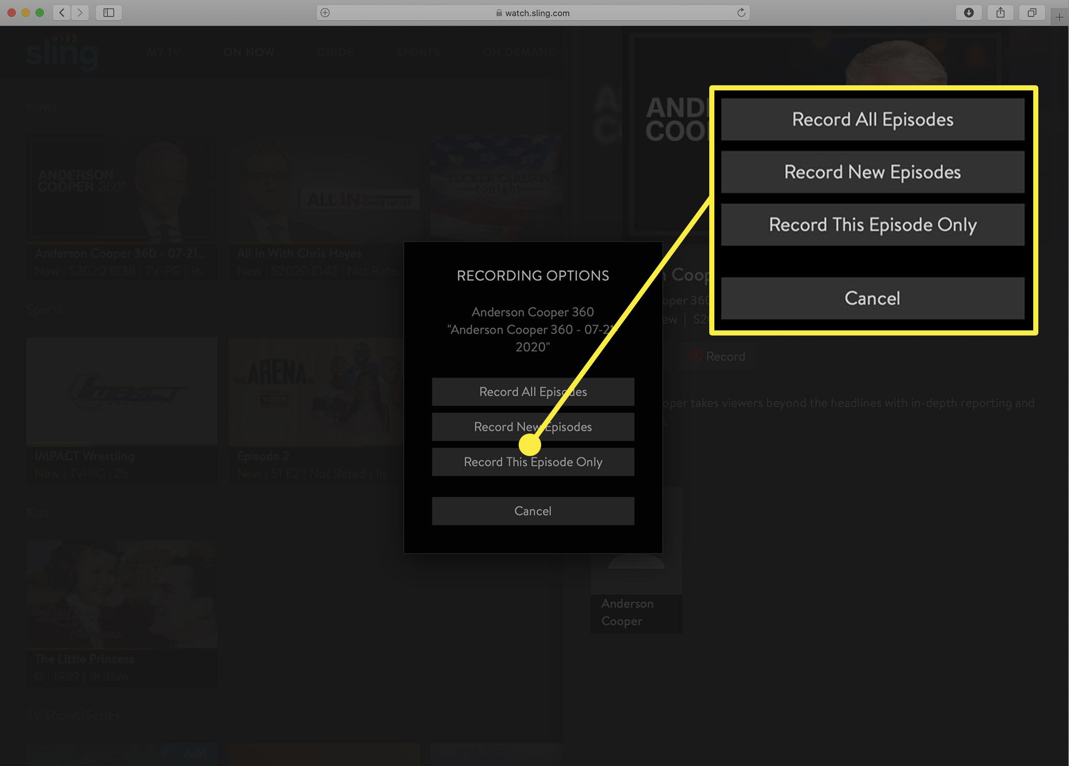 Screenshot of the Sling TV DVR recording options.