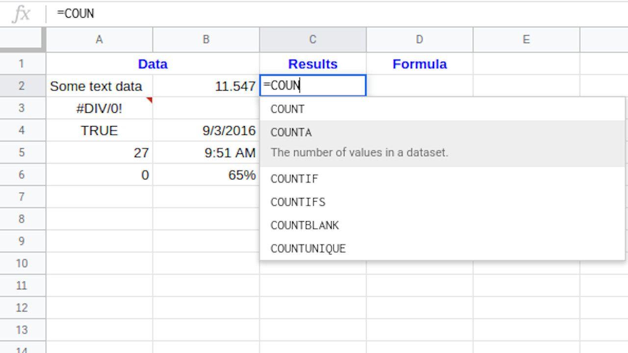 Google Sheets enter COUNTA function