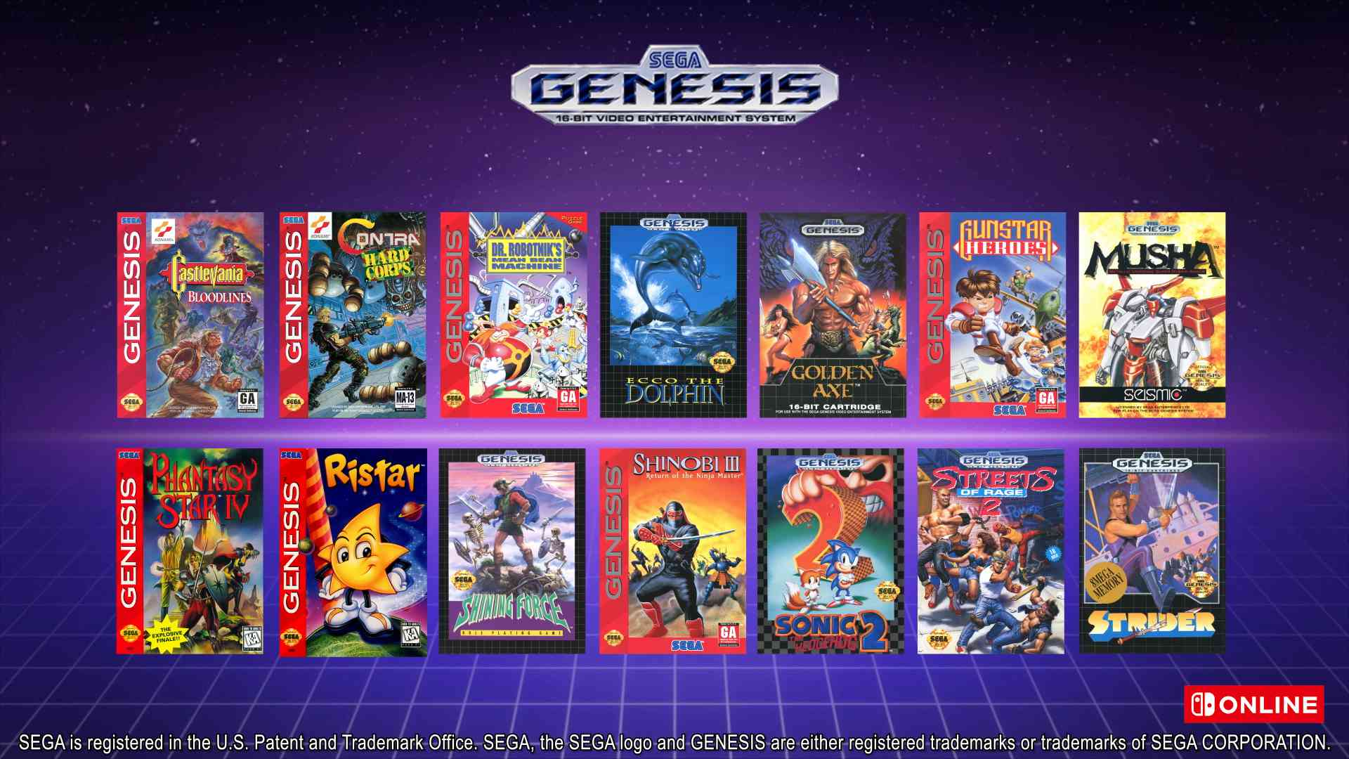 Switch Online Sega Genesis library
