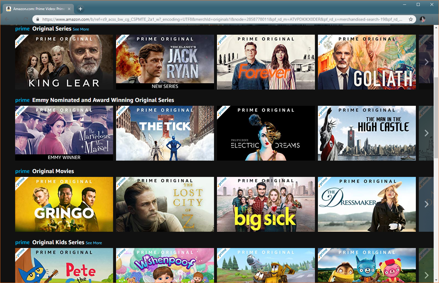 A screenshot of Amazon Originals.