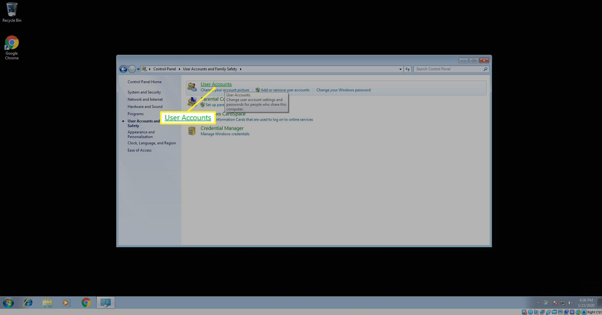 User Accounts in Windows 7