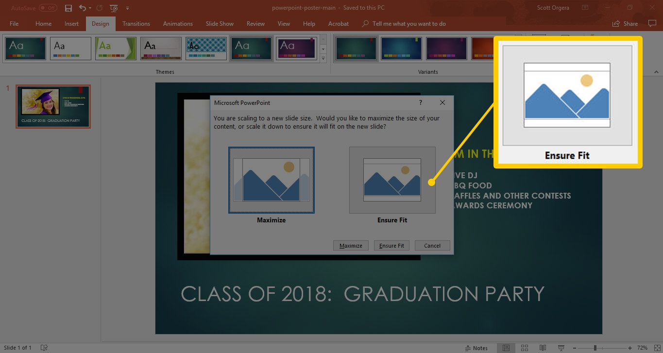 Ensure fit button in Slide Size dialog for Microsoft PowerPoint in Windows 10