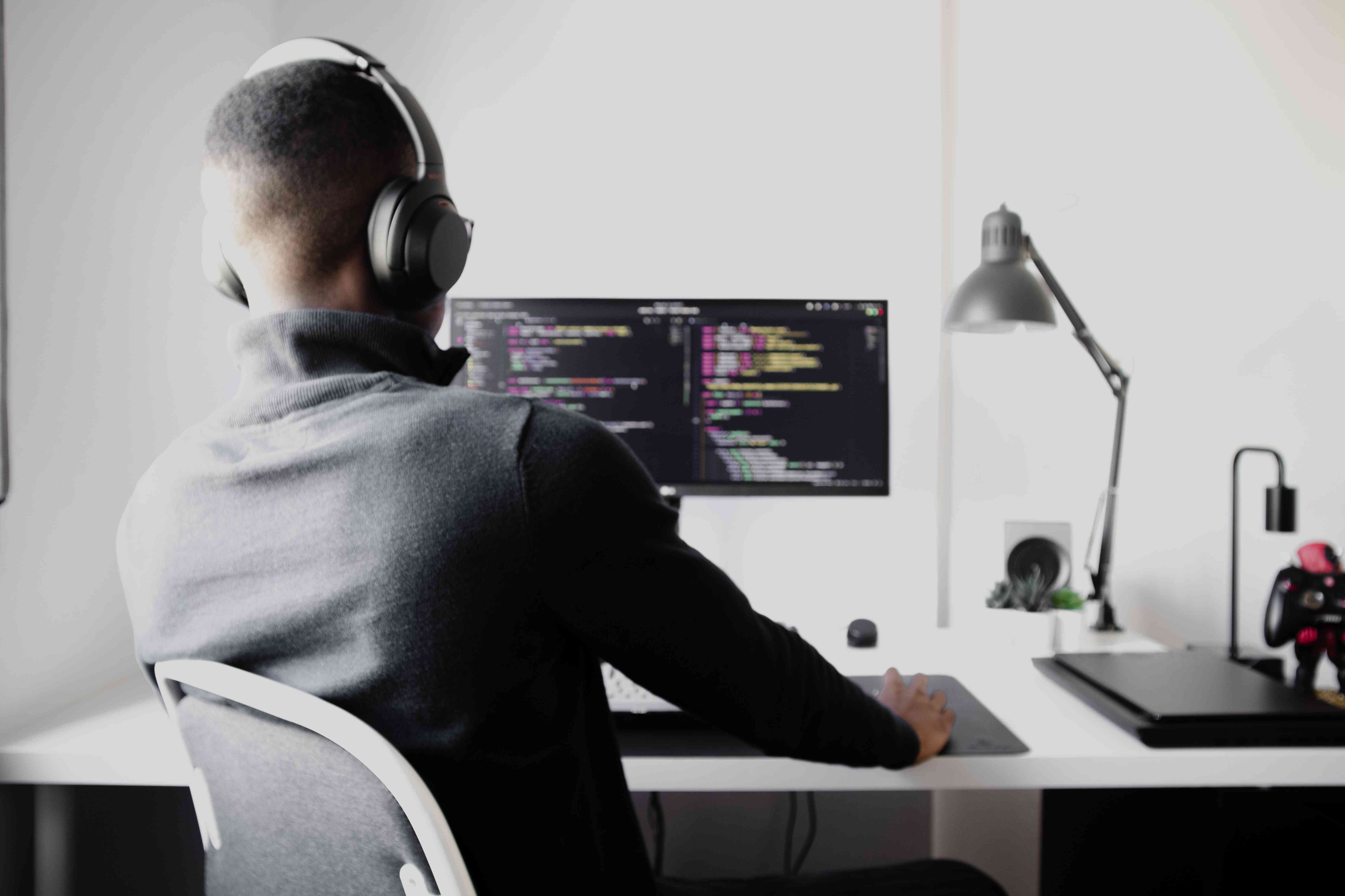 A developer working in a home office.