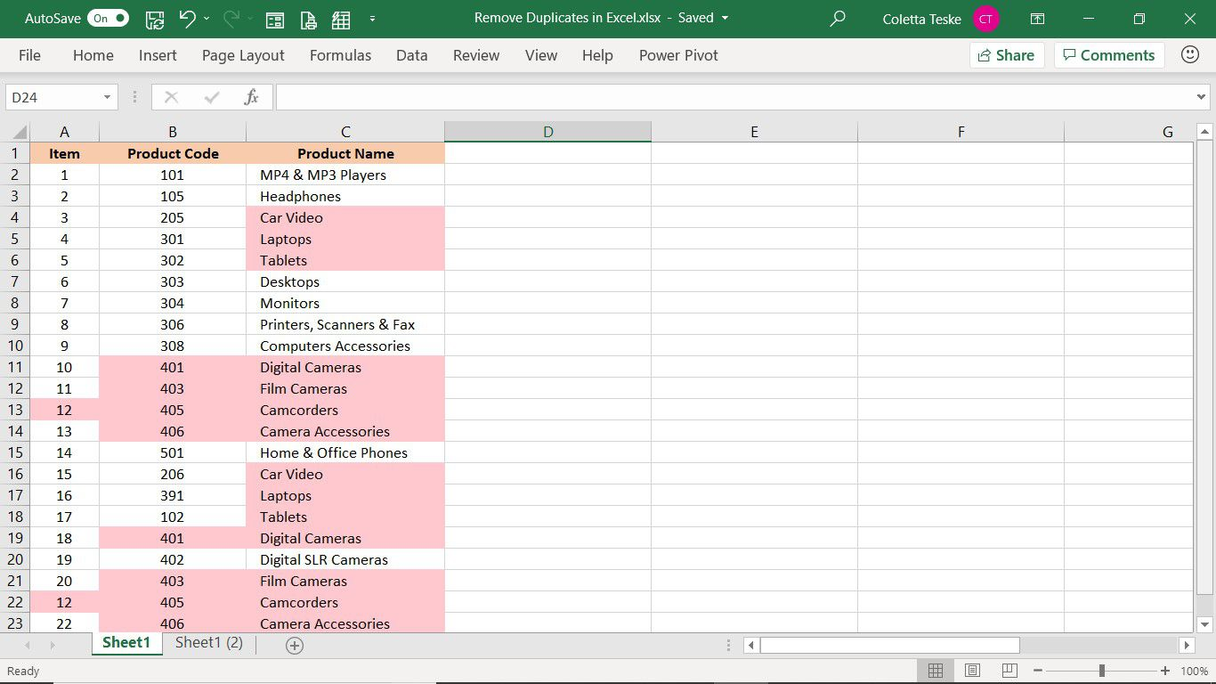 Highlighting used in conditional formatting showing how to get rid of duplicates in Excel