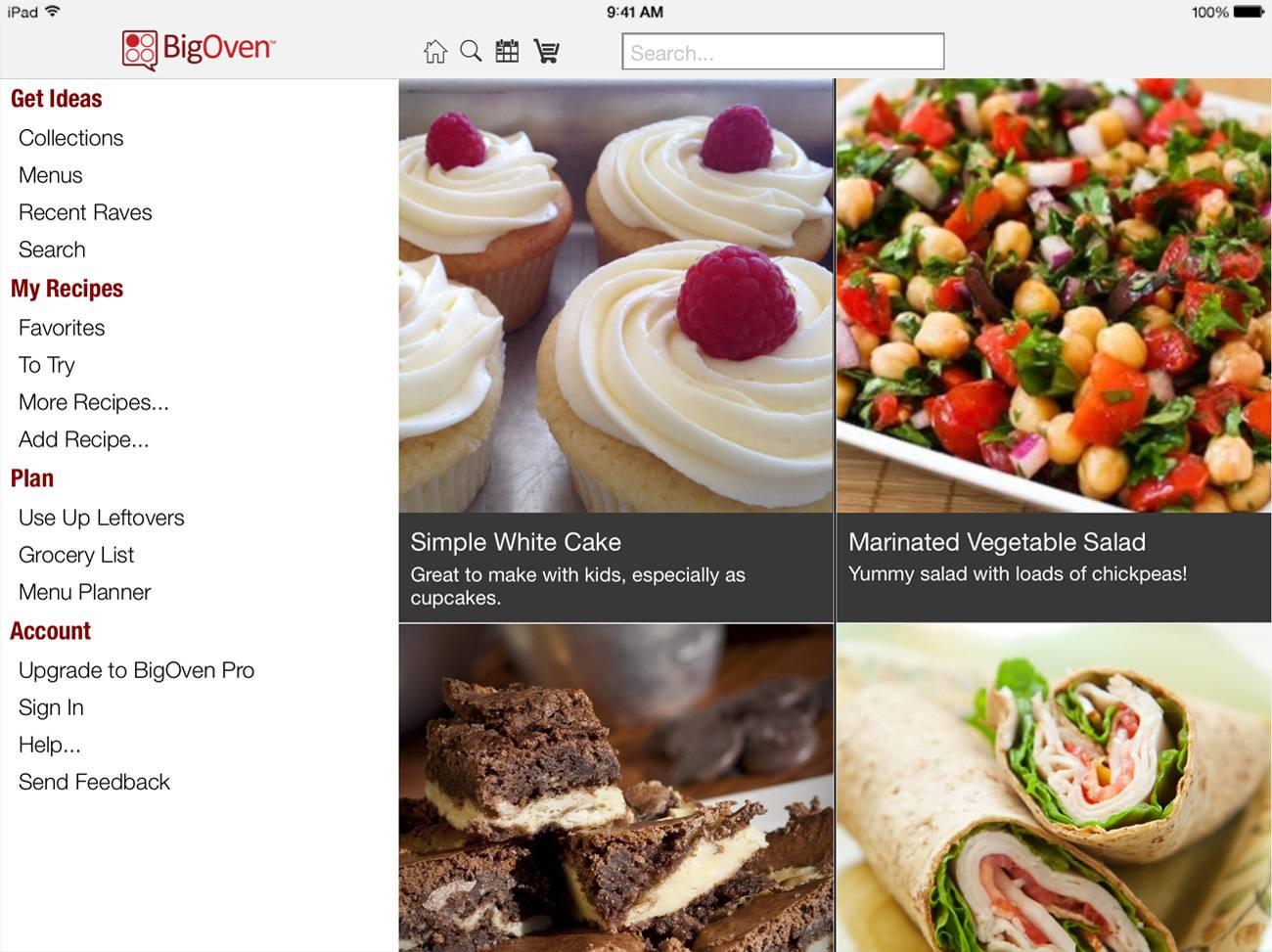 BigOven cooking app screenshot