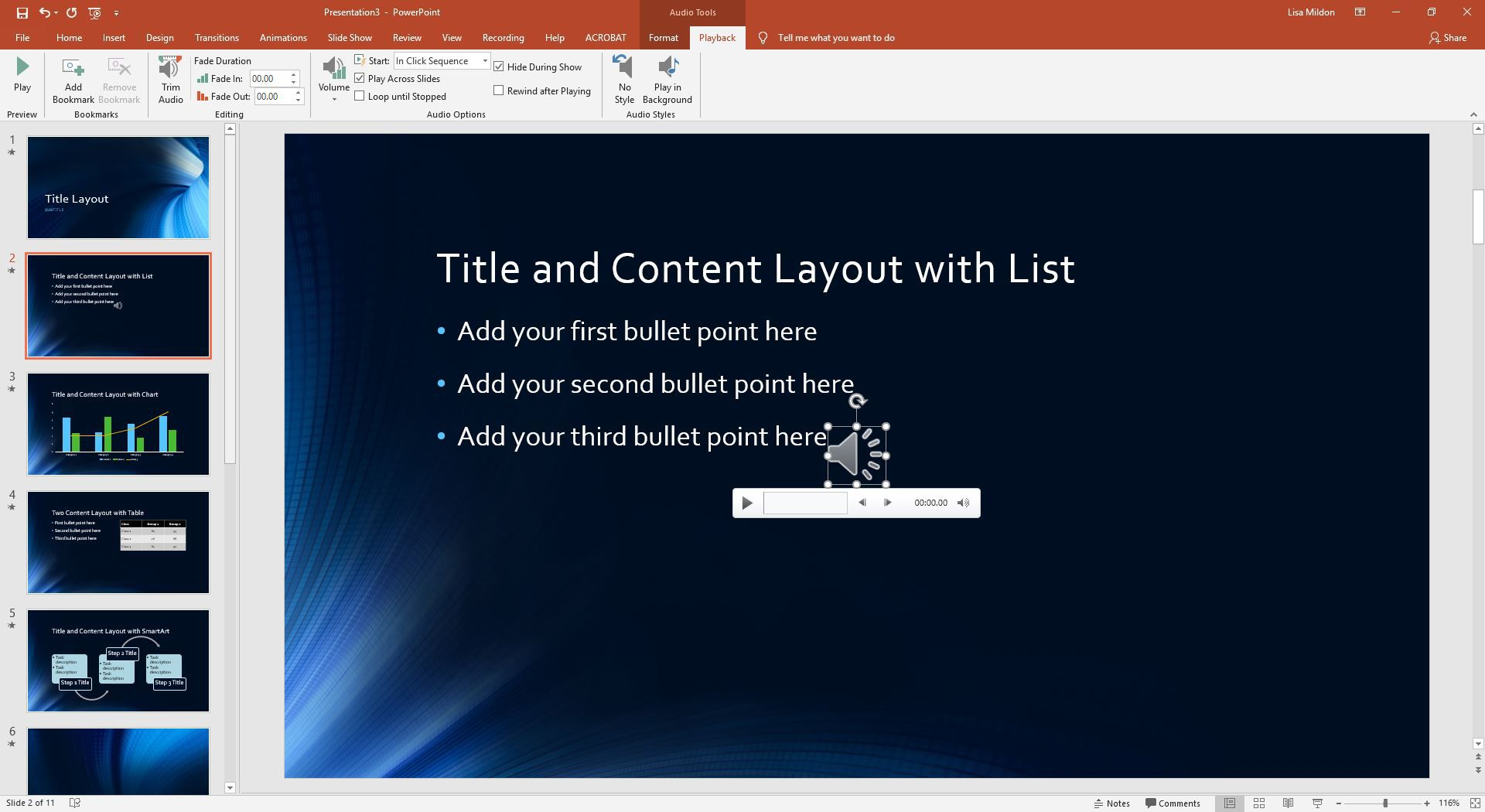 Edit Music, Sound, or Other Audio Settings in PowerPoint