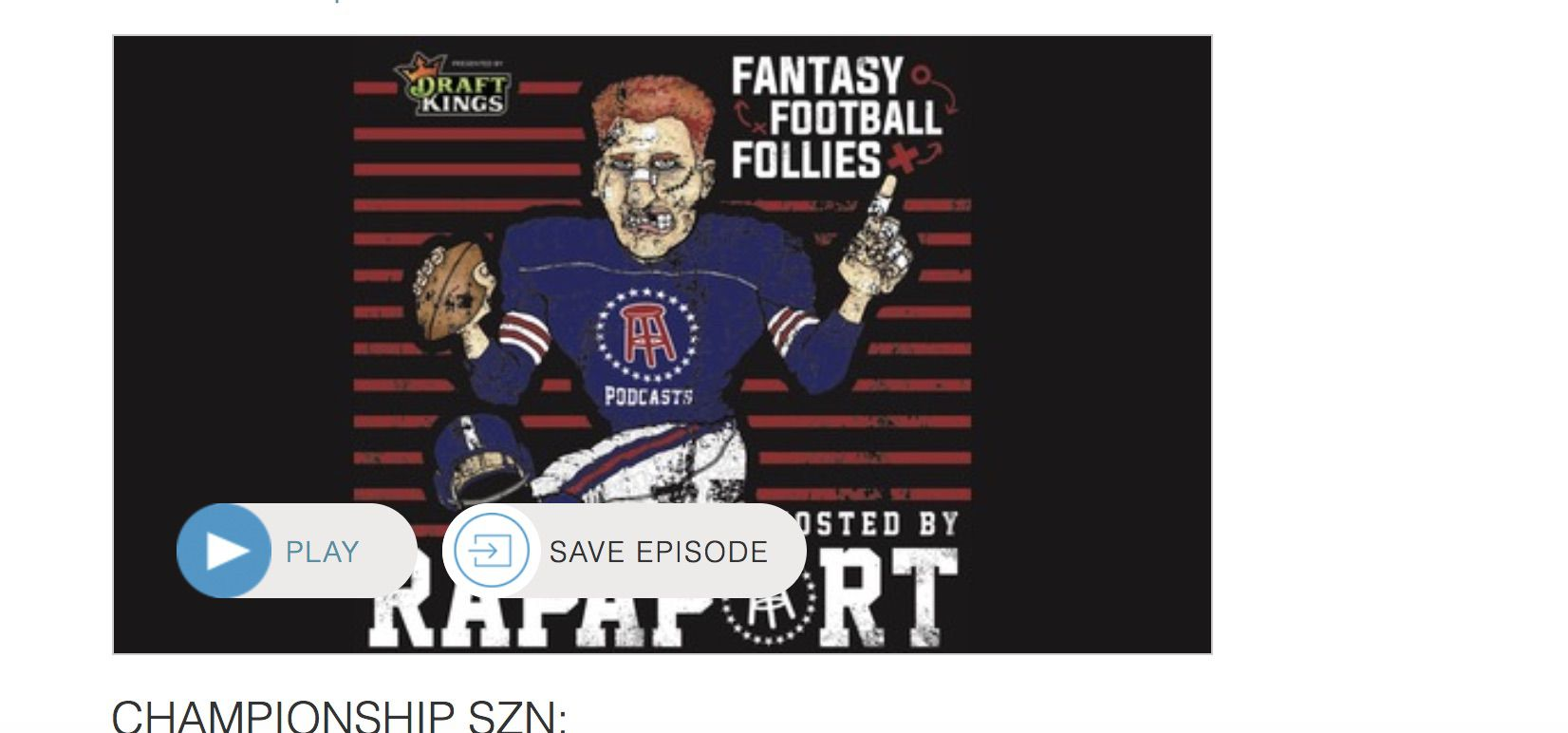 Screenshot of Fantasy Football Follies' landing page on Stitcher.