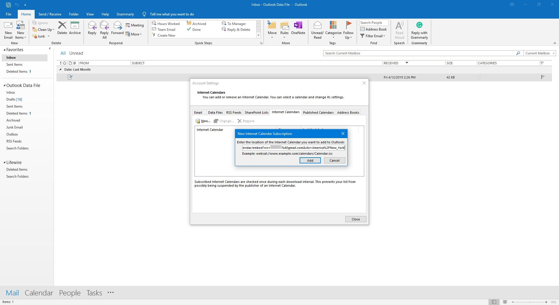 Pasting in link from Google into Outlook.