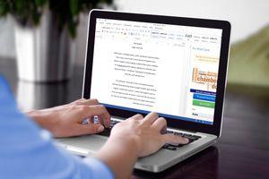 Microsoft Word running on a MacBook
