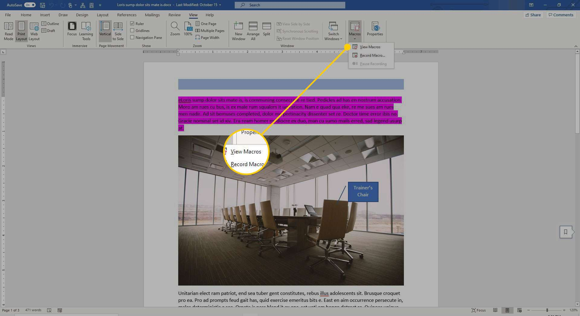 Macros menu in Word with the View Macros command highlighted