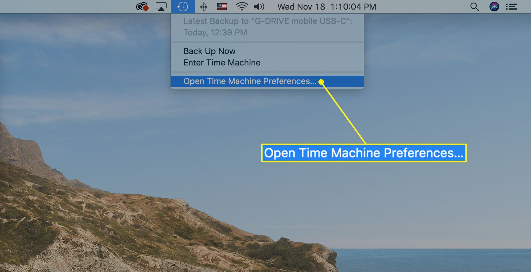 The Time Machine menu with Open Time Machine Preferences selected