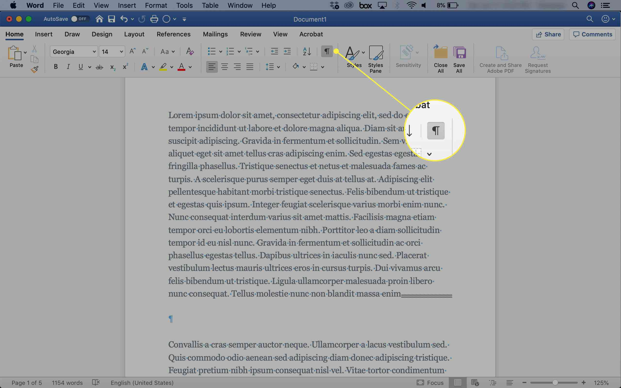 A screenshot of Word with the Show Hidden button highlighted