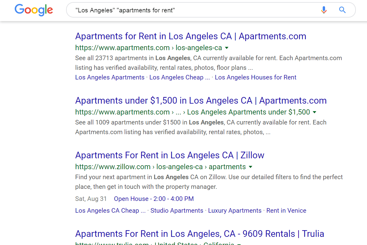 Google Search with quotes for Los Angeles apartments for rent