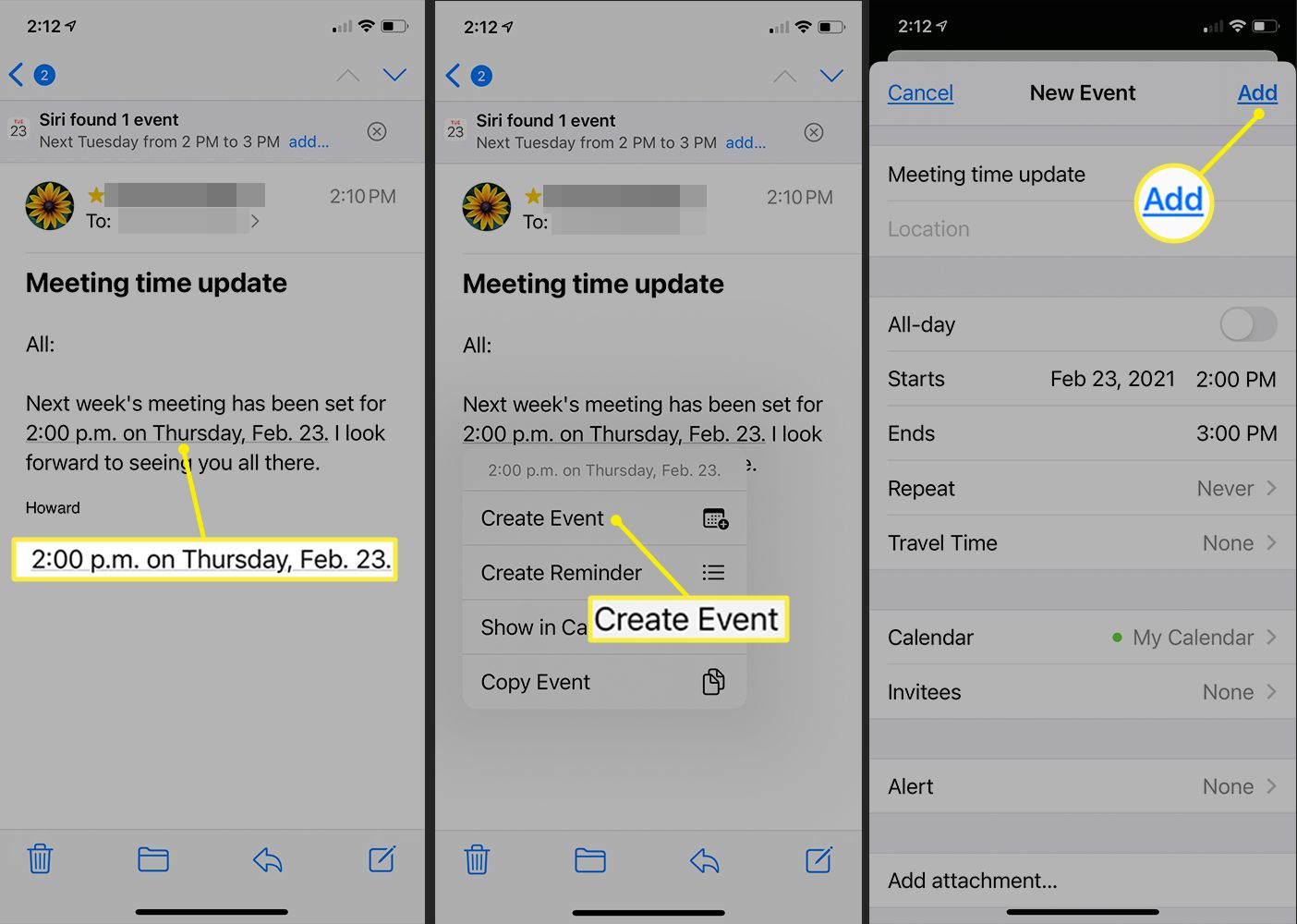 iOS Mail showing a Siri identified event