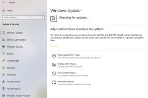 Screenshot of Windows 10 checking for updates