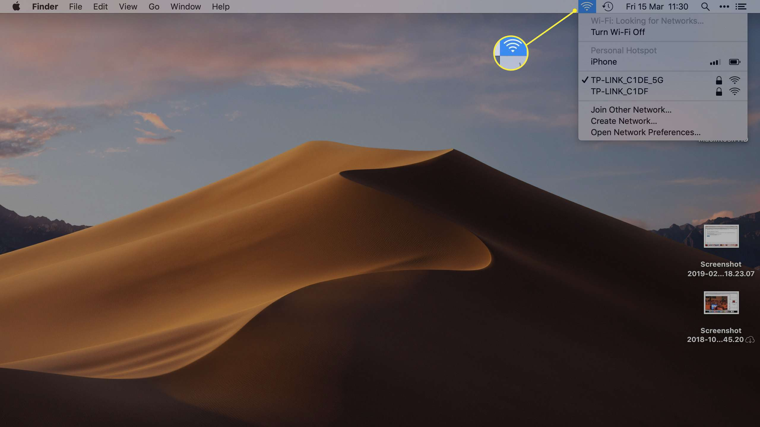 Wi Fi icon on macOS