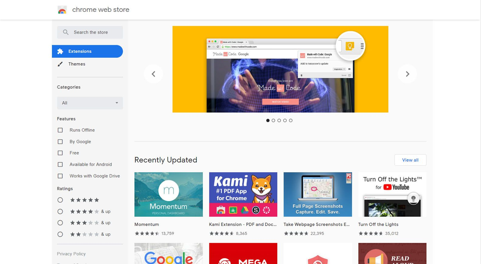Home page of the Chrome Web Store