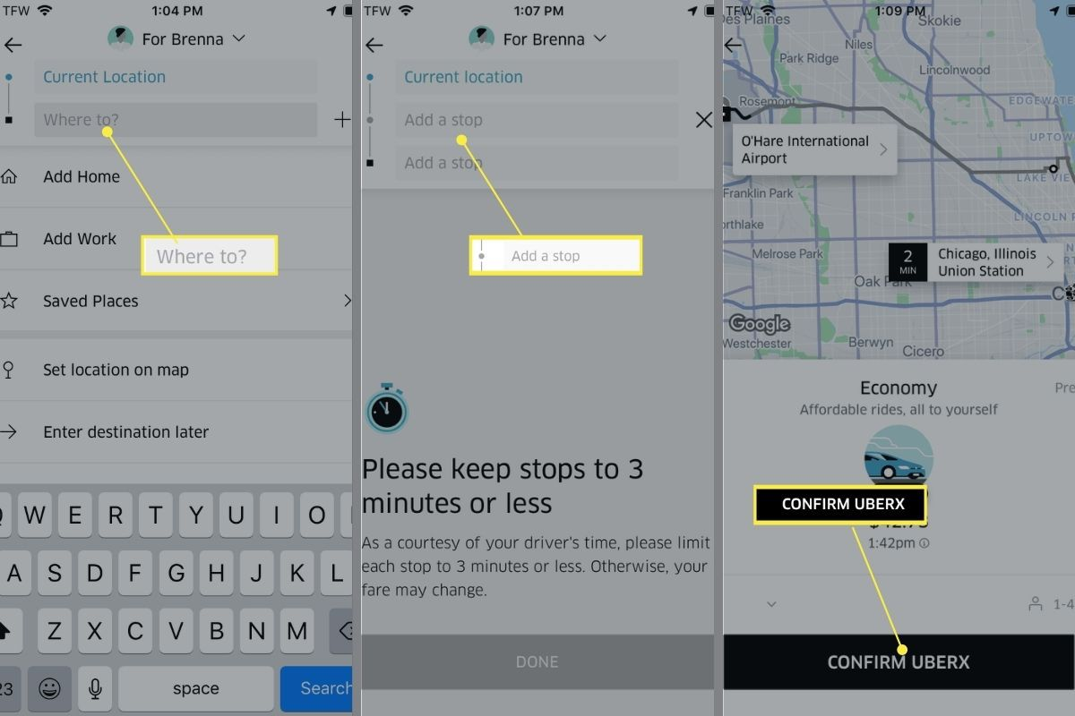 Adding and confirming stops in the Uber app