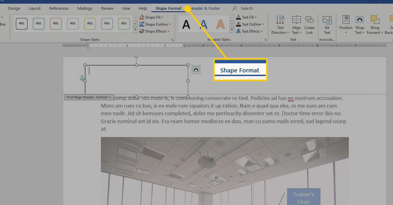 Shape Format tab in Word