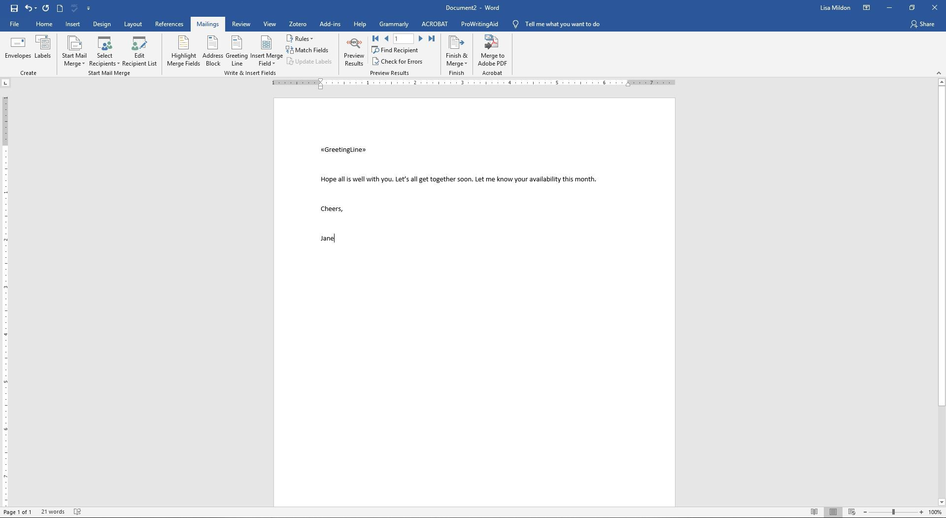 A mail merge letter in Word