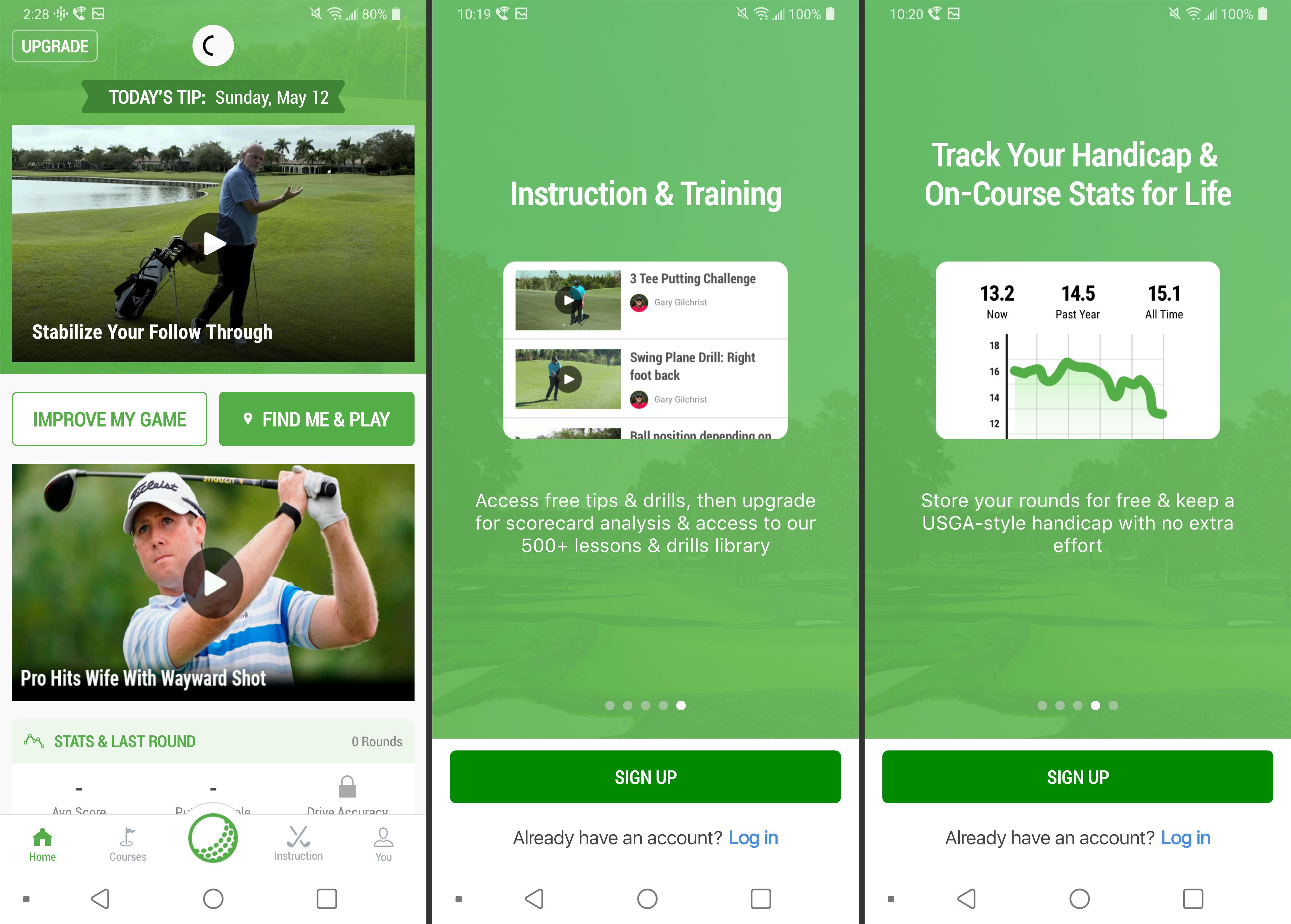 Golf GPS app screenshots