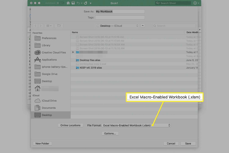 Excel Macro-Enabled Workbook (.xlsm) dropdown menu in Excel for Mac