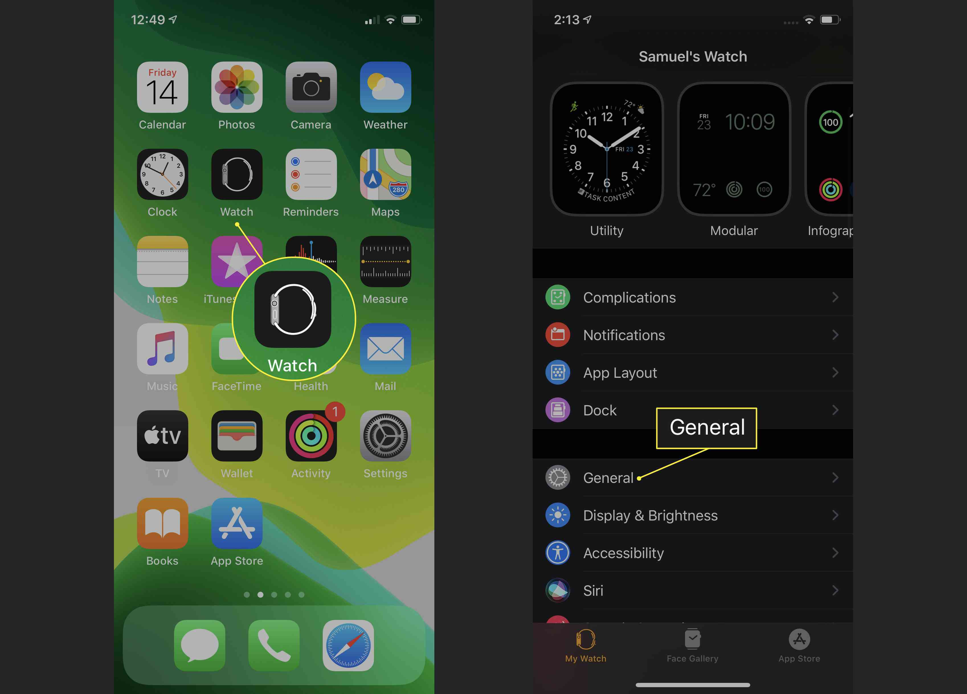 Apple Watch app with General highlighted
