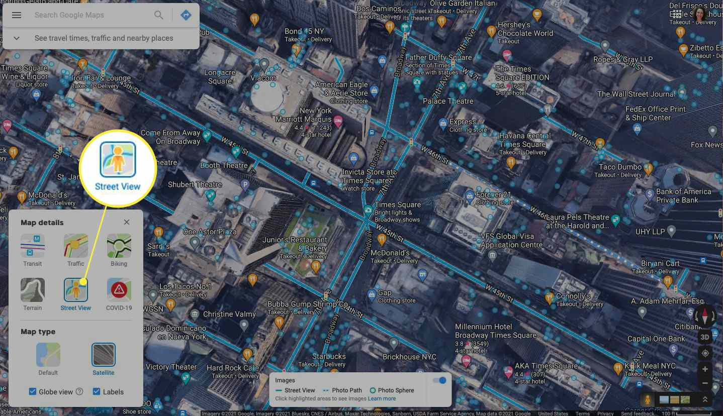 Street View option highlighted in Google Maps in a browser