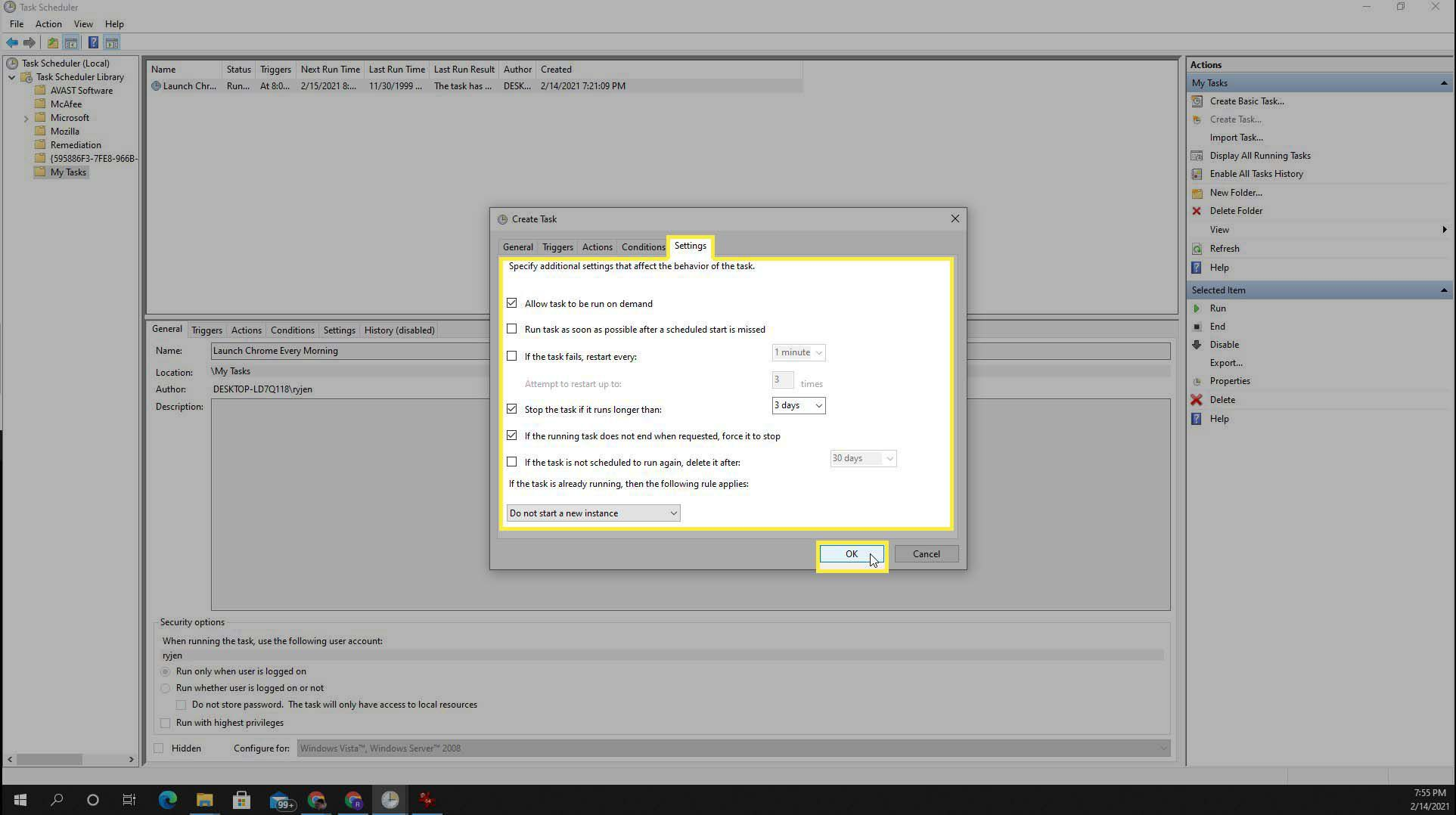 The Setting tab in Task Scheduler in Windows 10.