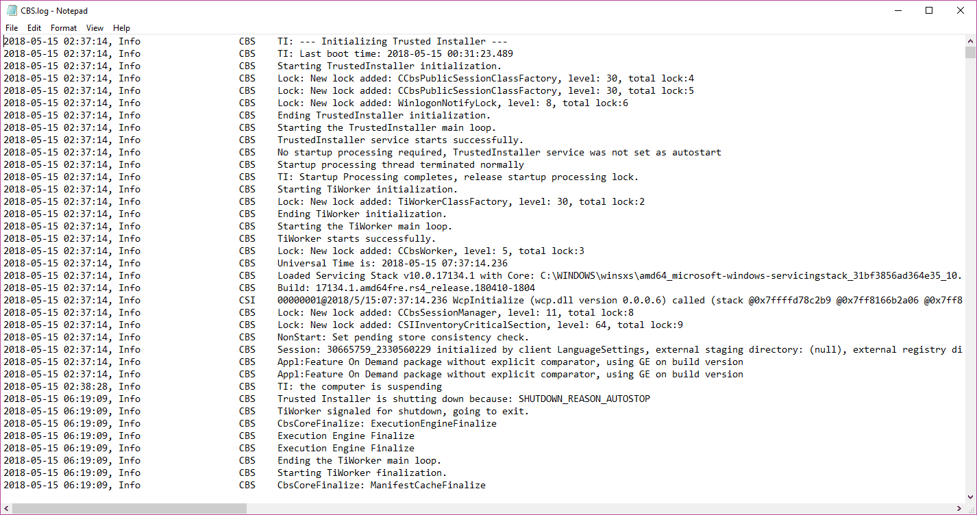 A screenshot of a CBS log file that results from the System File Checker.