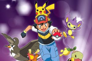 Pikachu, Ash and his Pokemon in the Pokemon Diamond and Pearl anime.