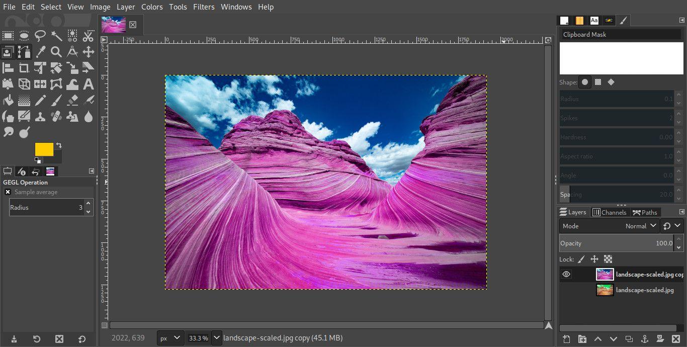 GIMP image edited foreground