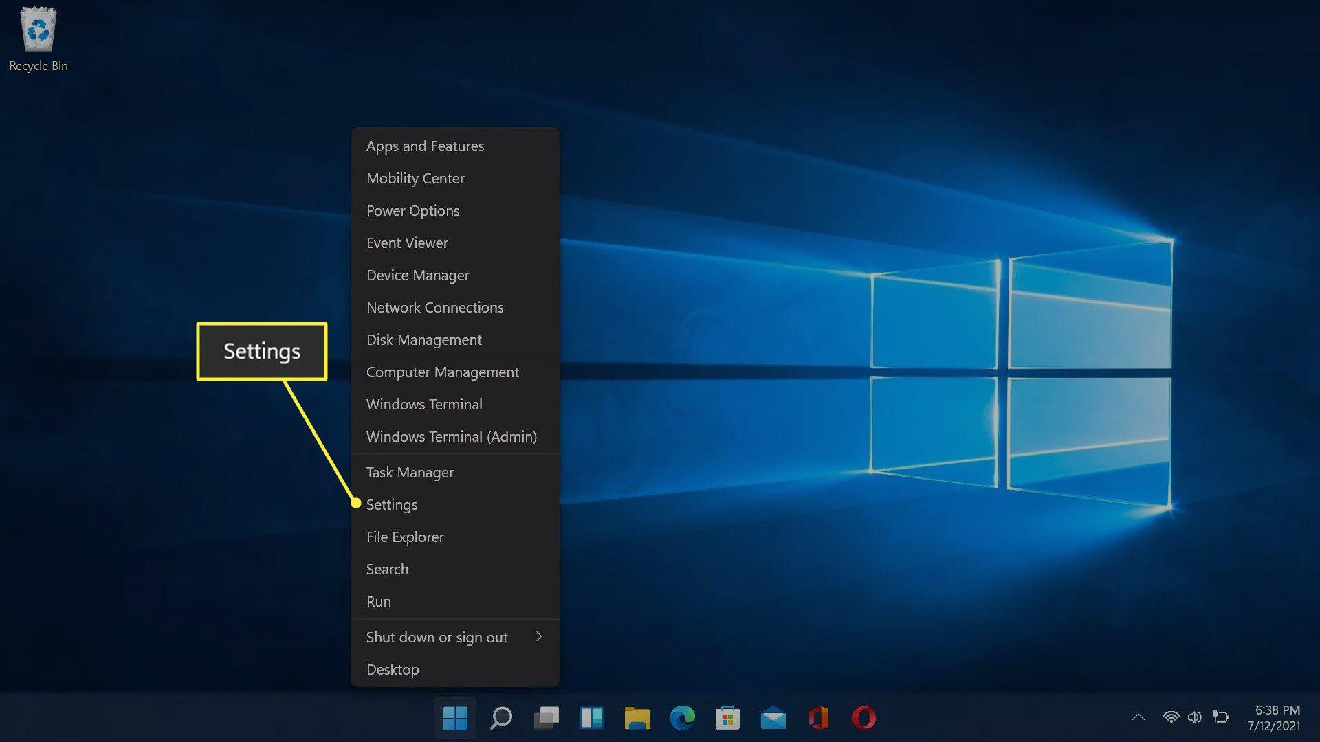 Settings highlighted in the Windows 11 taskbar