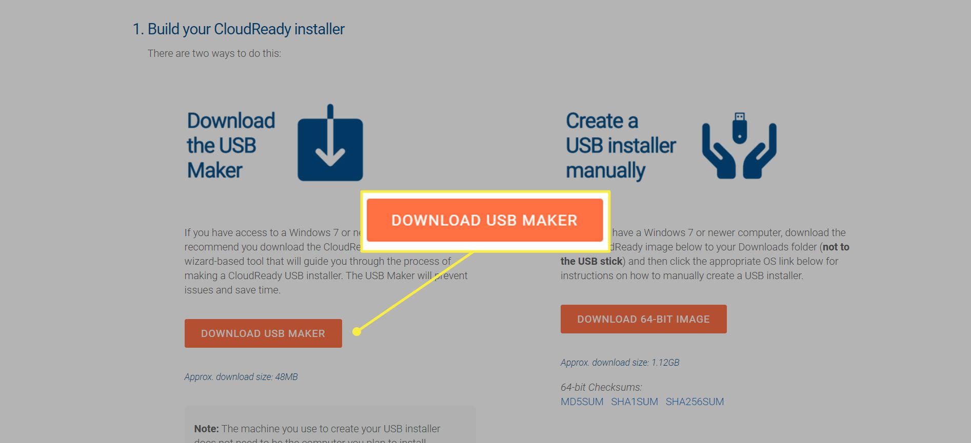 Neverware website with 'Download USB Maker' button highlighted