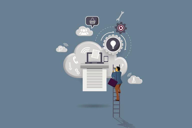 Illustration of a man climbing a ladder to a printer in a cloud